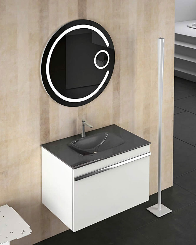 Meubles salle de bains for Miroir rond eclairant